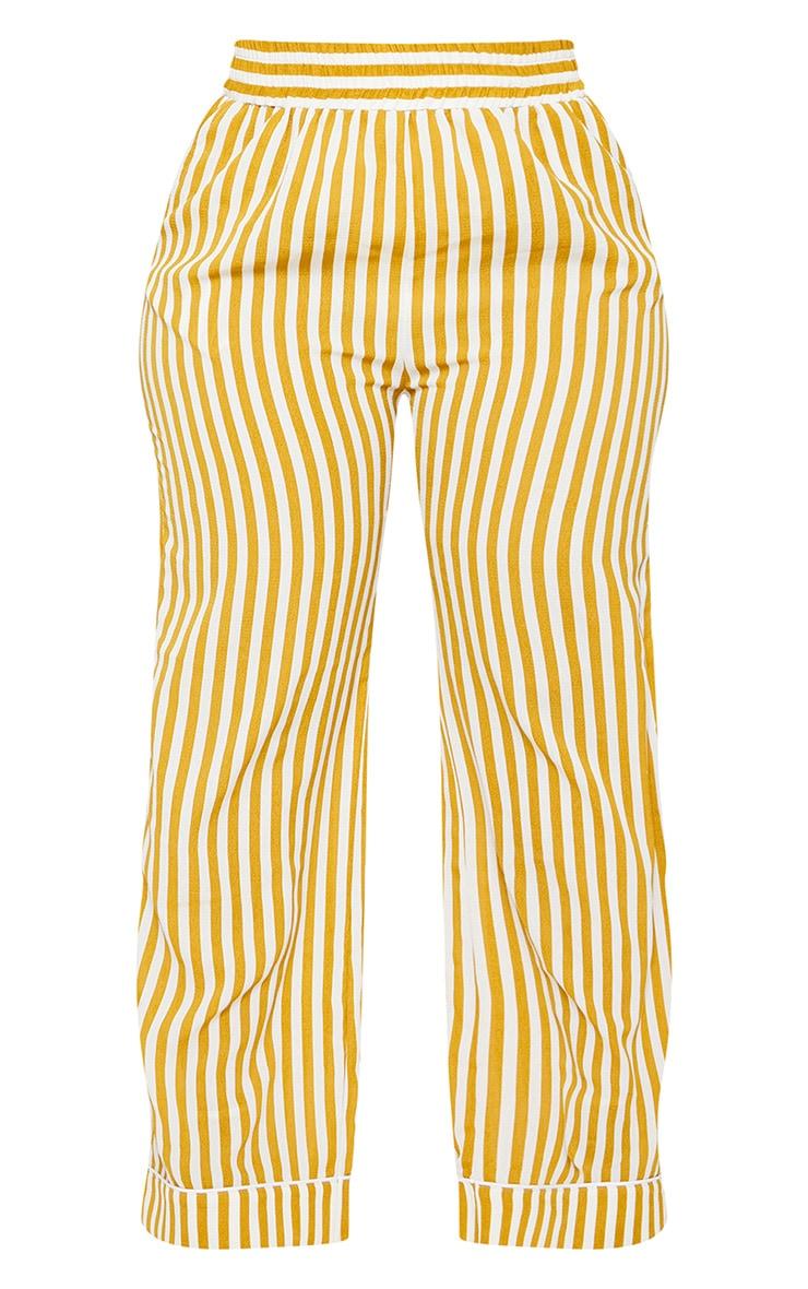 Plus Chartreuse Striped  Print Wide Leg Trousers 3
