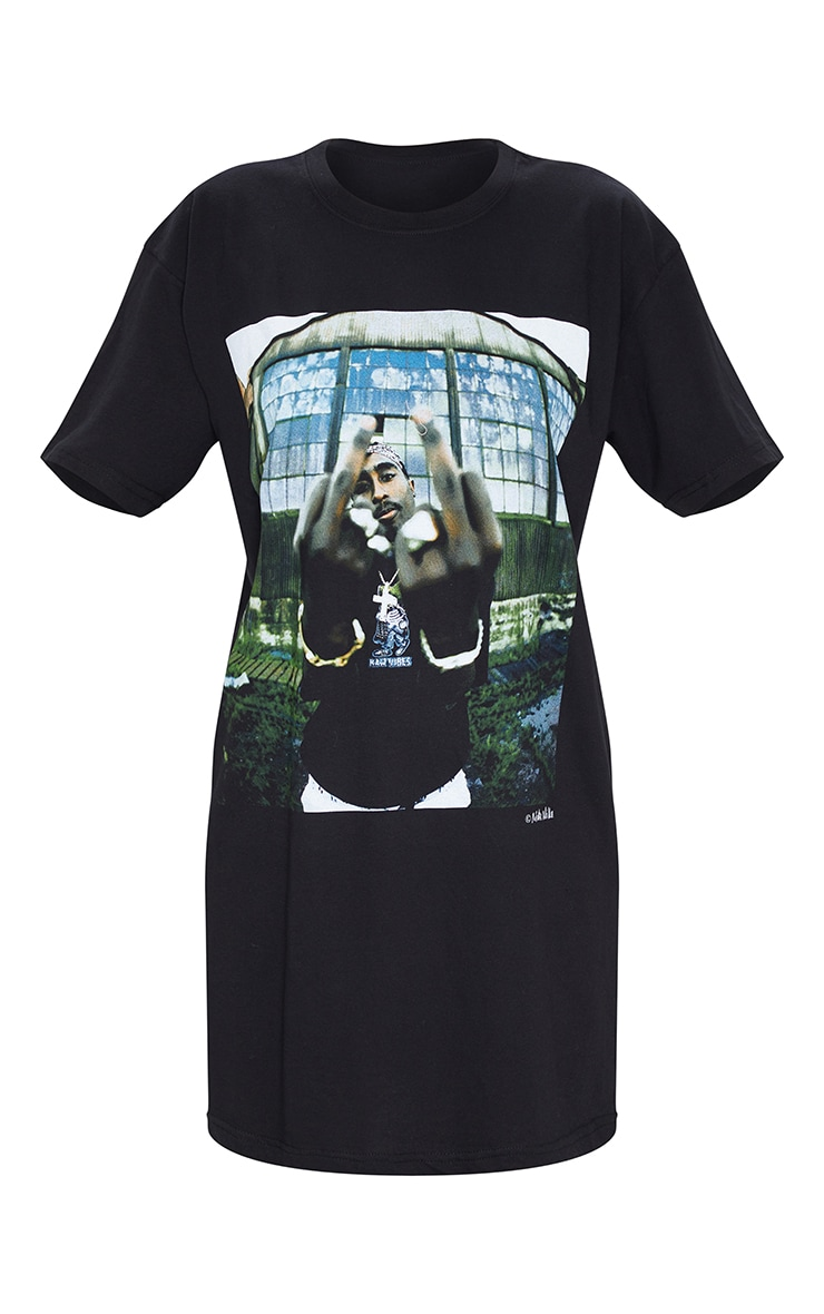 Tupac Black T Shirt Dress 5