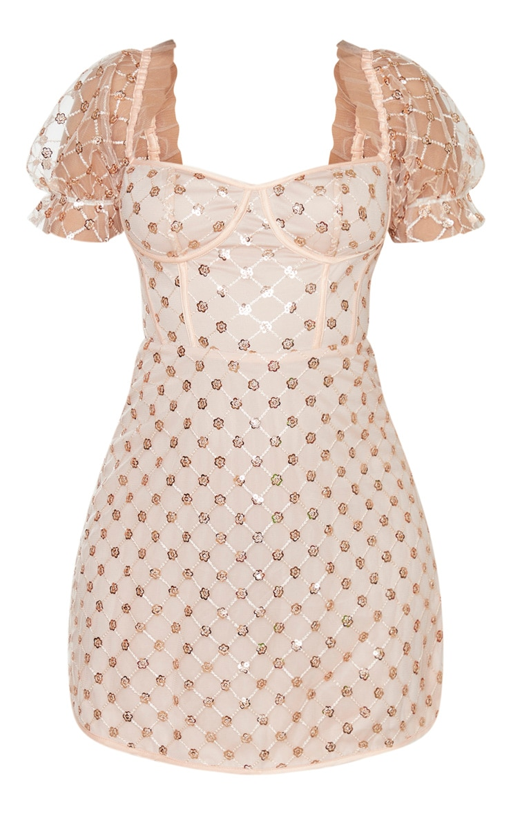 Rose Gold Sequin Detail Puff Sleeve Cup Detail Shift Dress 3