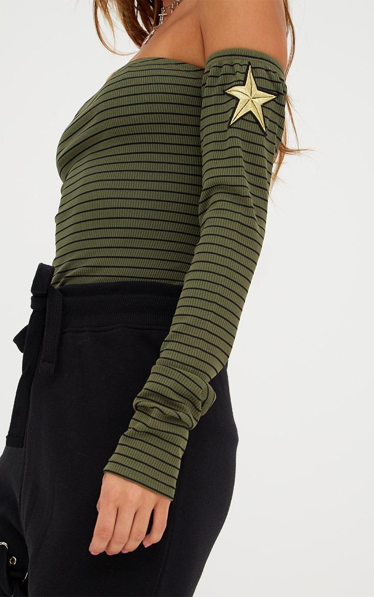 Khaki Stripe Star Applique Top 5