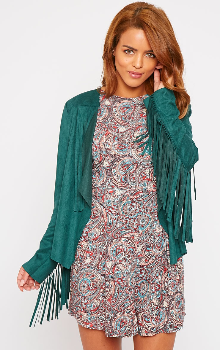 Rocco Bottle Green Suede Tassel Jacket 1
