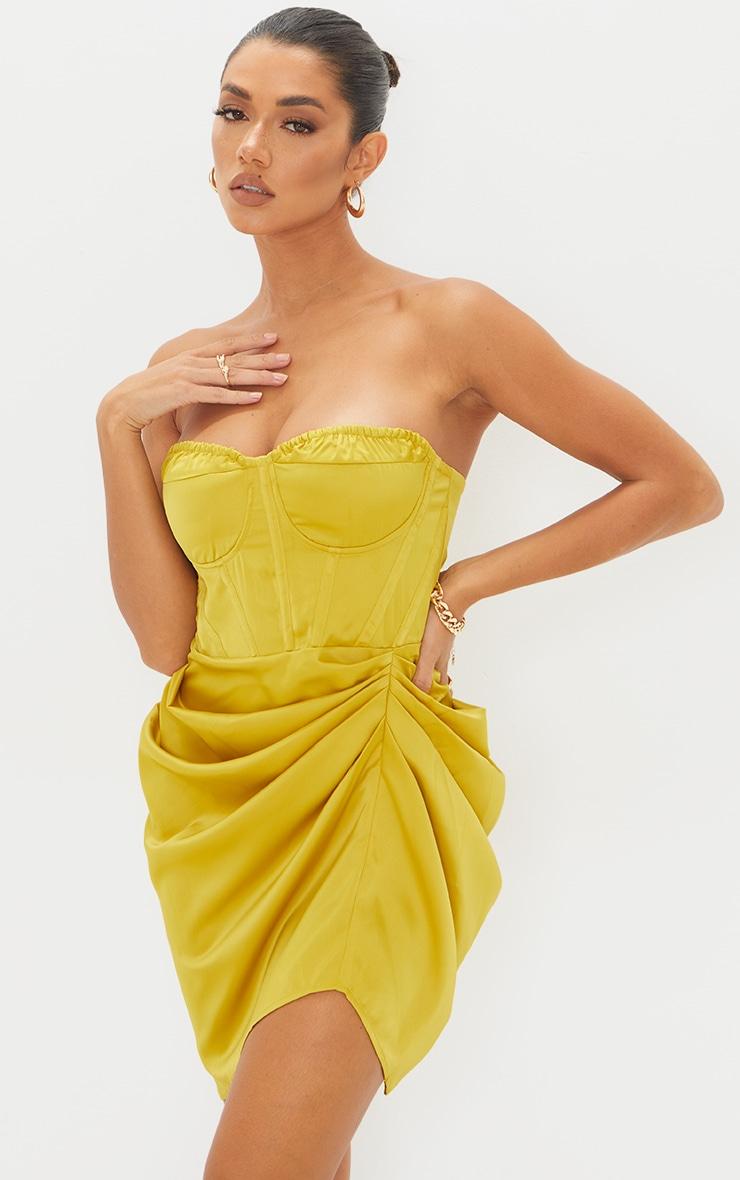 Light Lime Satin Bandeau Corset Detail Gathered Skirt Bodycon Dress 3