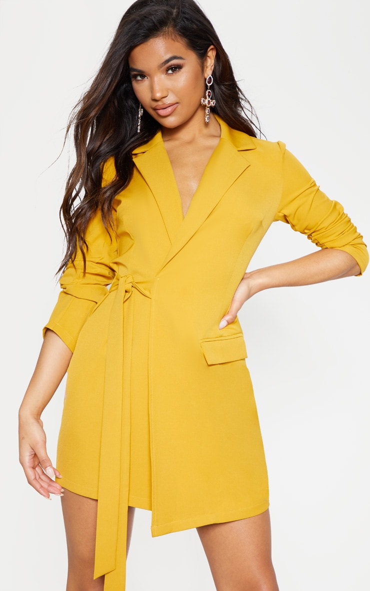 Mustard Tie Detail Blazer Dress