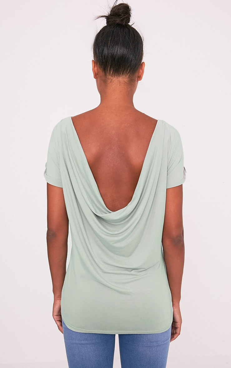Bea Sage Green Multi Way Cowl Neck T Shirt 2