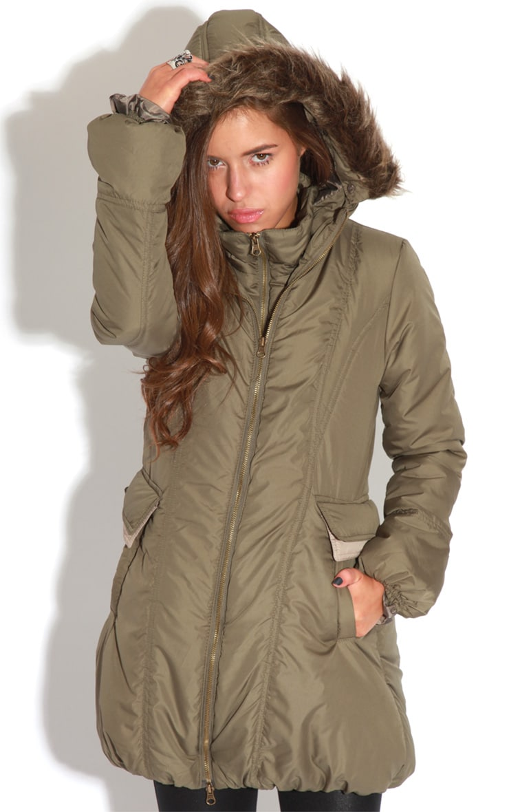Cyra Khaki Parka With Fur Hood -16 7