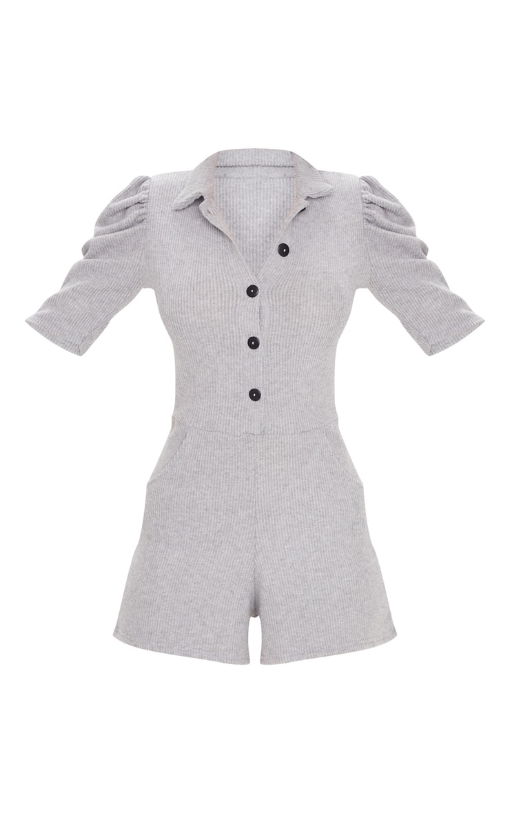 Grey Brushed Rib Puff Sleeve Button Front Playsuit 5