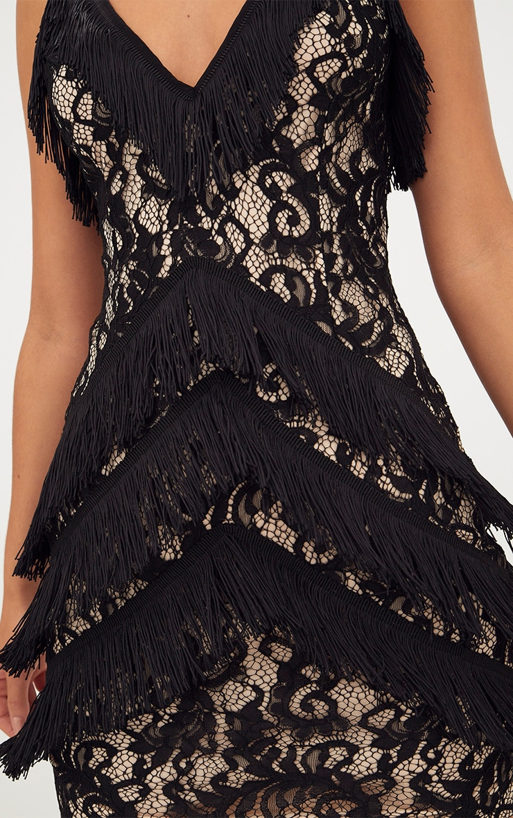 Black Strappy Lace Tassel Detail Bodycon Dress 5