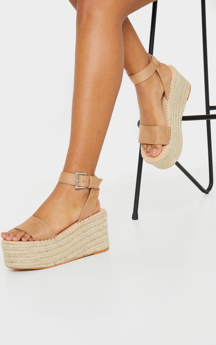 Tan Buckle Ankle Strap Flatform Espadrille Sandal 1
