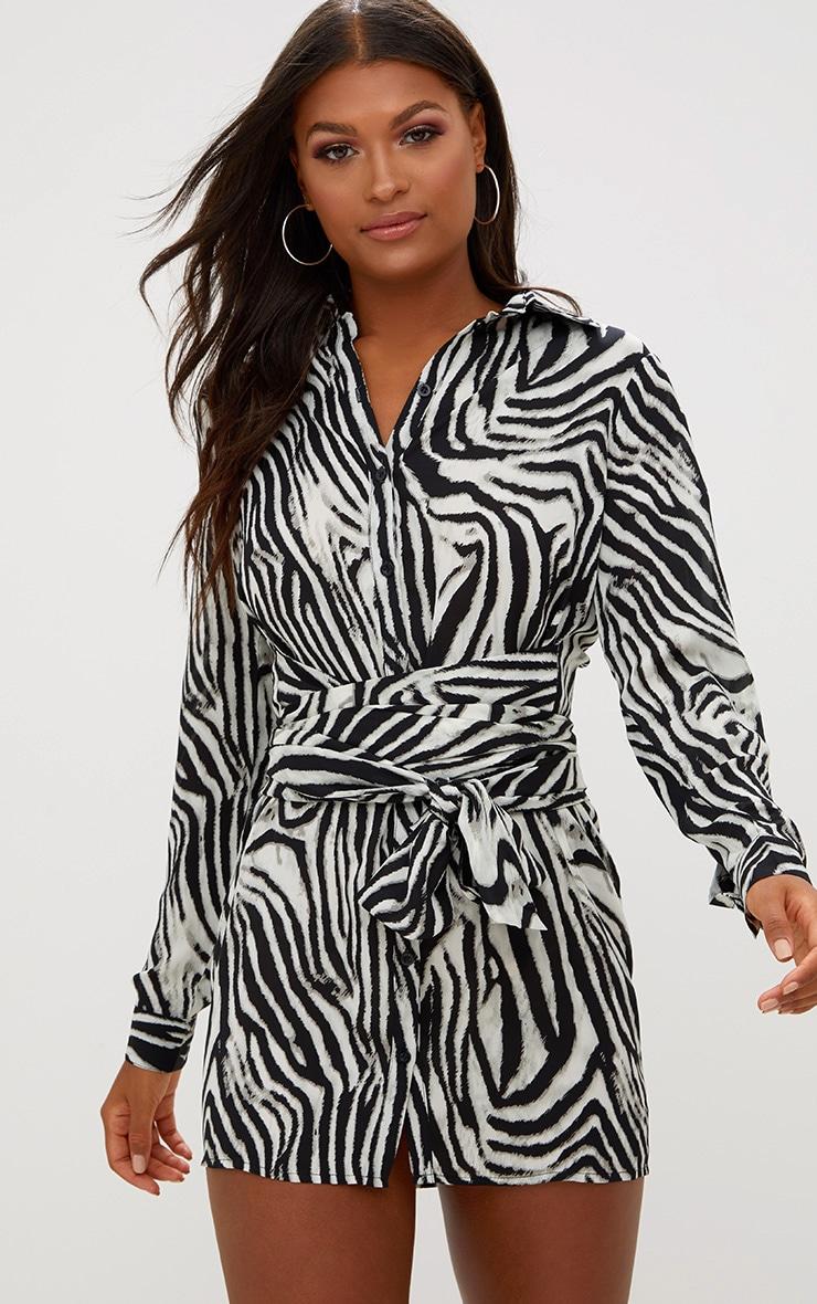 Black Zebra Tie Waist Shirt Dress 1