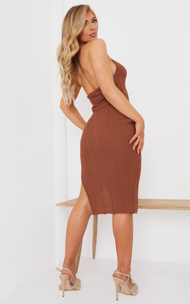 Rust Pointelle Tie Neck Midi Dress 2