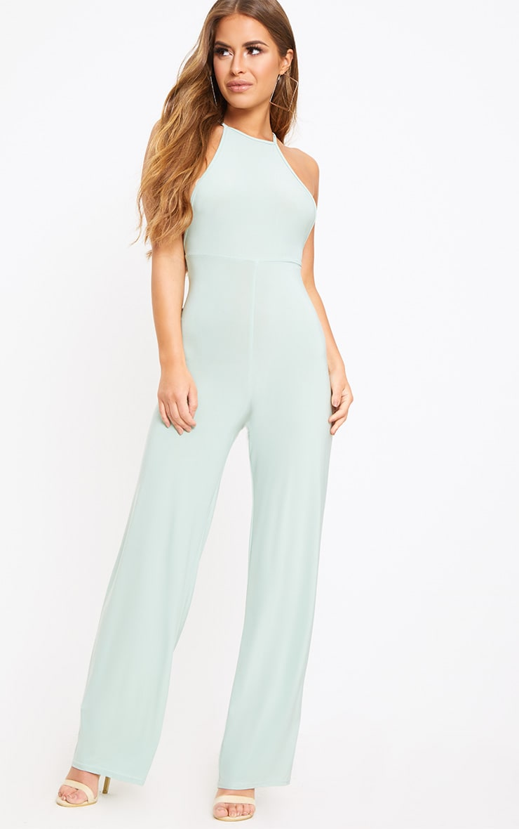 Petite Sage Green Tie Back Strappy Jumpsuit 2