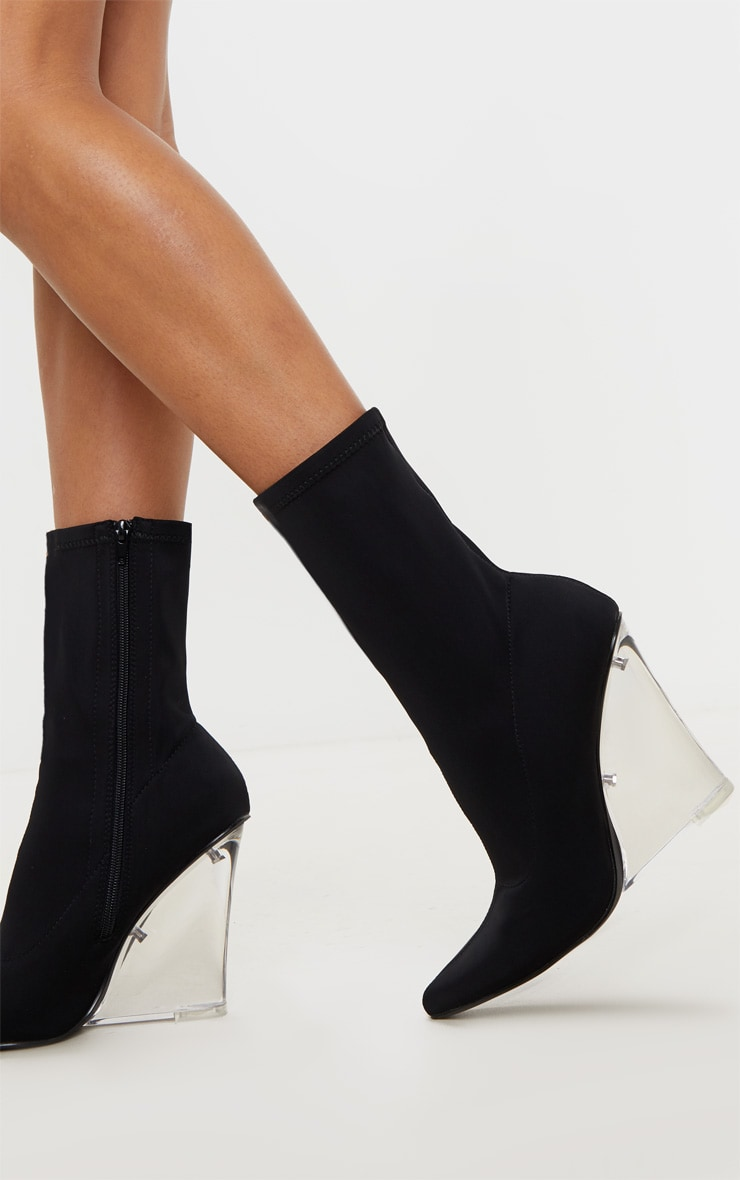 Black Clear Wedge Point Toe Sock Boot 1