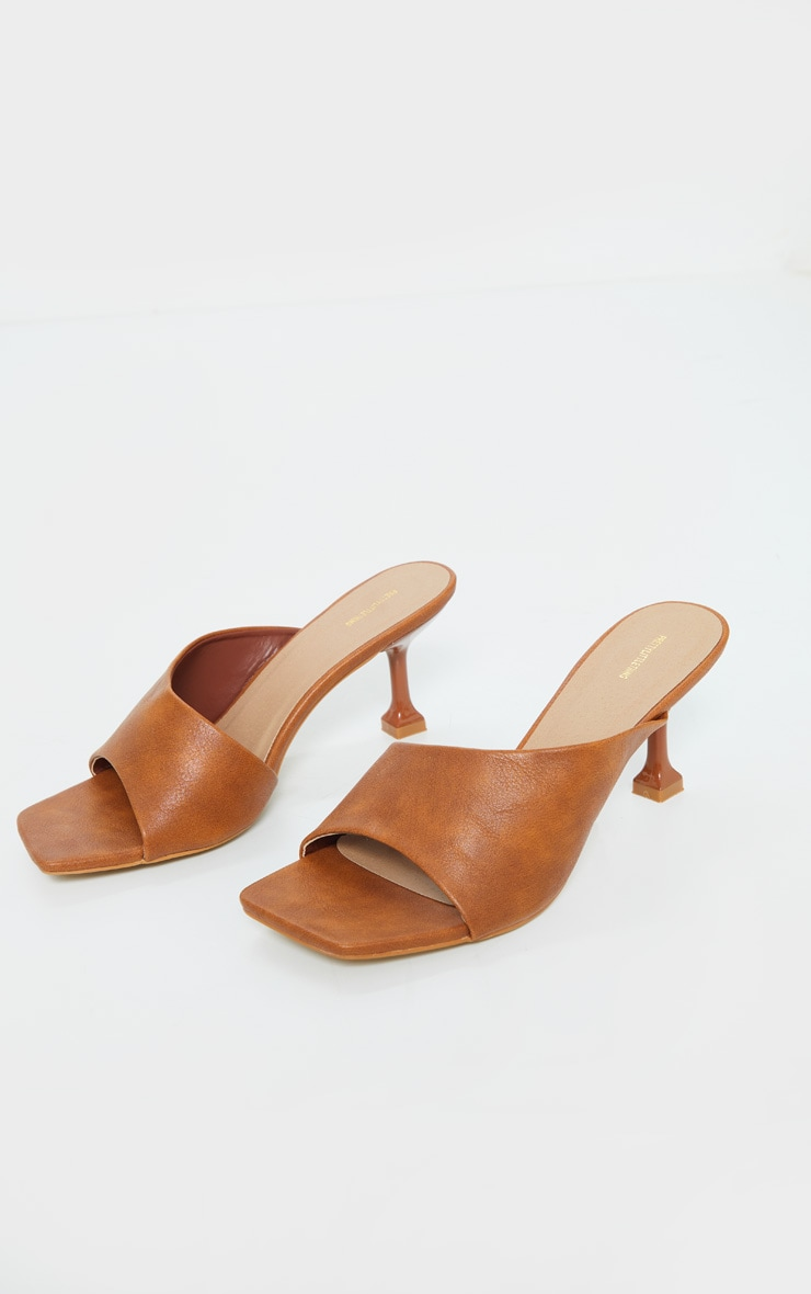 Tan Asymmetric Low Heel Mules 3