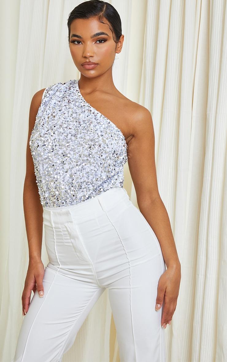 White Sequin One Shoulder Bodysuit 1