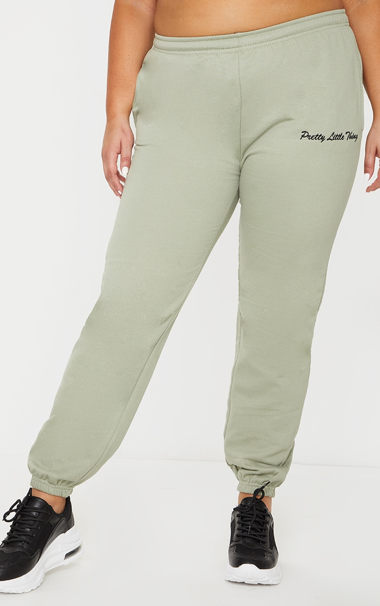 PRETTYLITTLETHING Plus Sage Green Embroidered Jogger 2