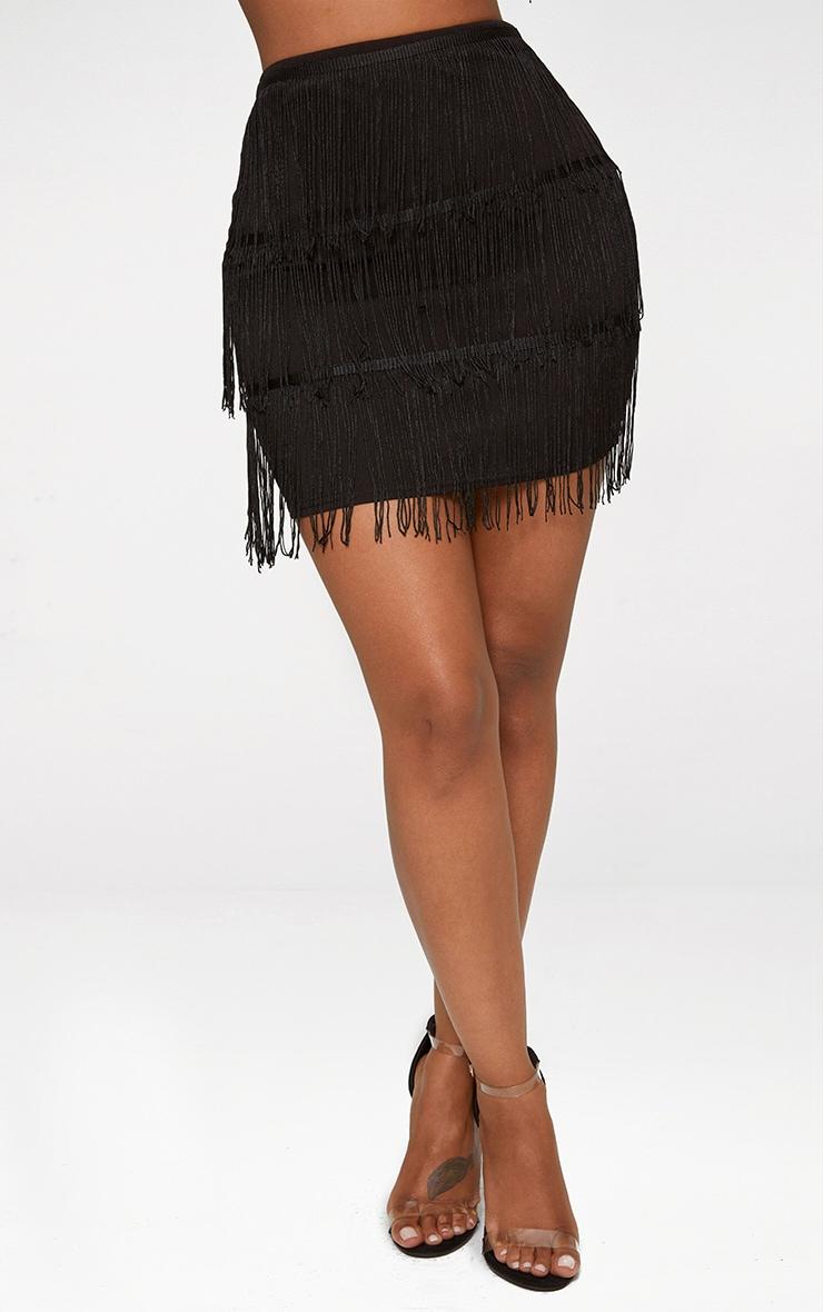 Shape Black Tassel Mini Skirt 2