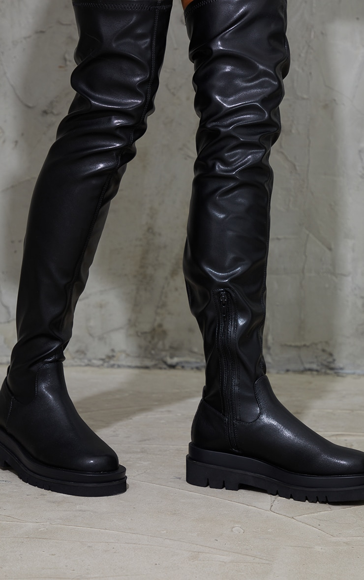 Black Double Sole Over The Knee Boots 4