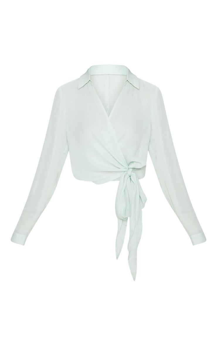 Mint Wrap Front Tie Side Blouse 3