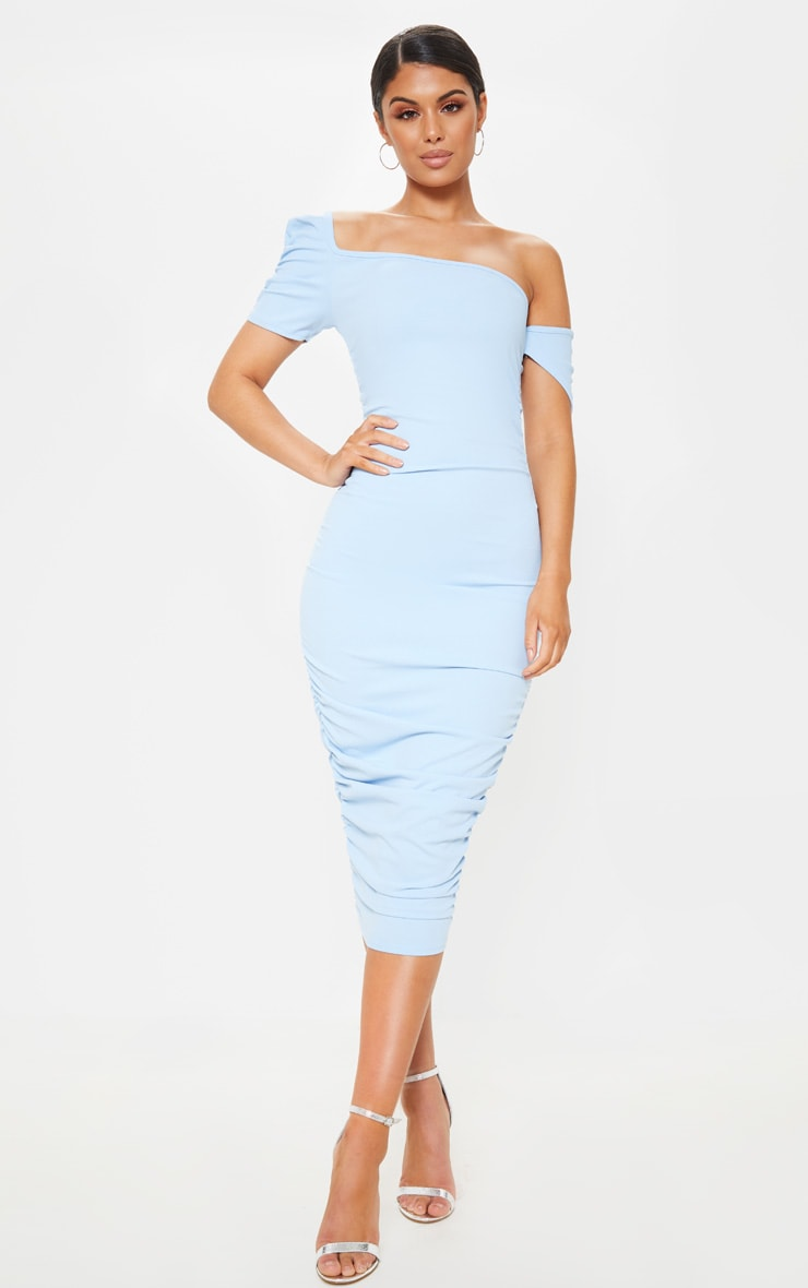 Dusty Blue One Shoulder Ruched Detail Bodycon Dress 1