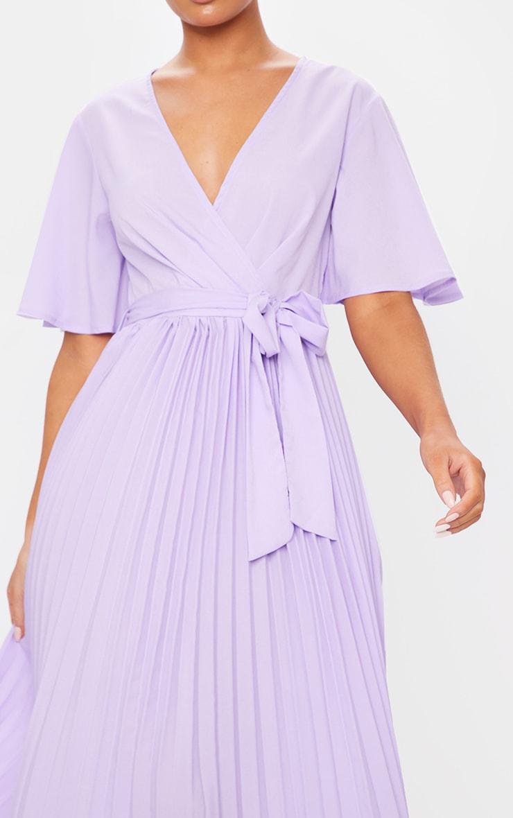 Robe lilas mi-longue plissée 4