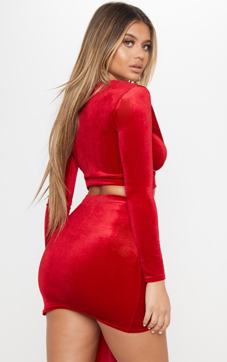 Red Long Sleeve Wrap Velvet Crop Top 2