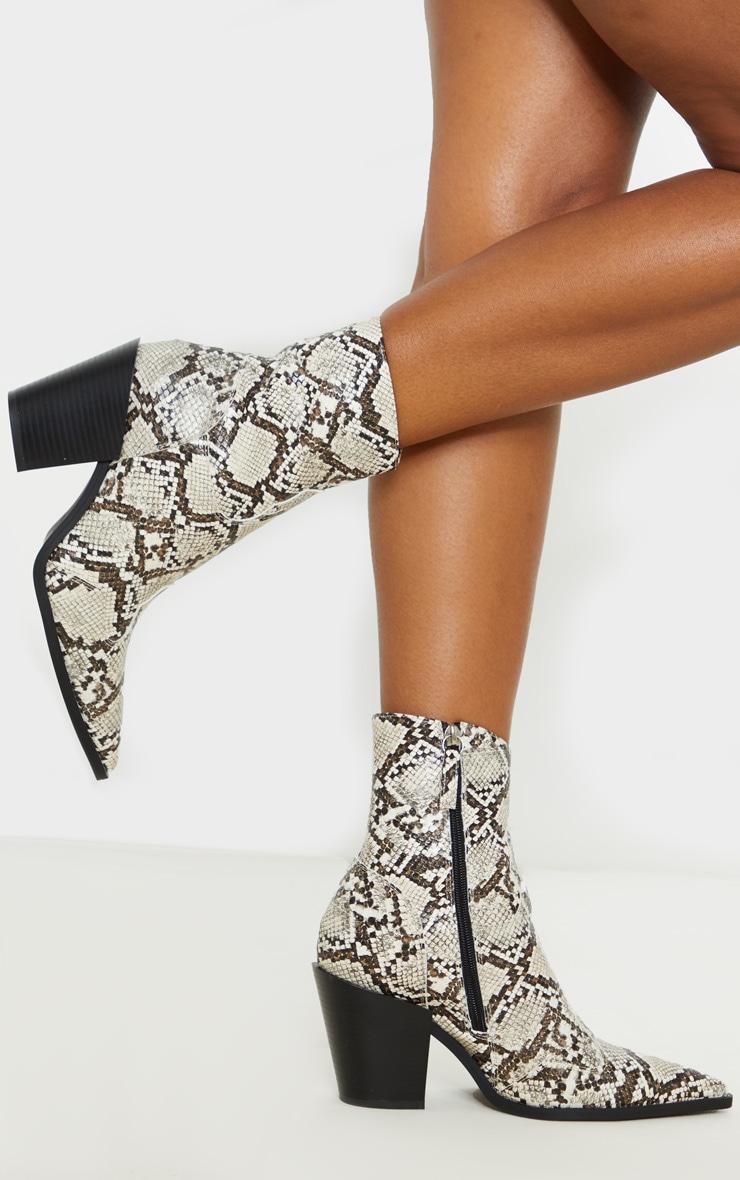 Beige Snake Point Toe Western Heel Ankle Boot 2