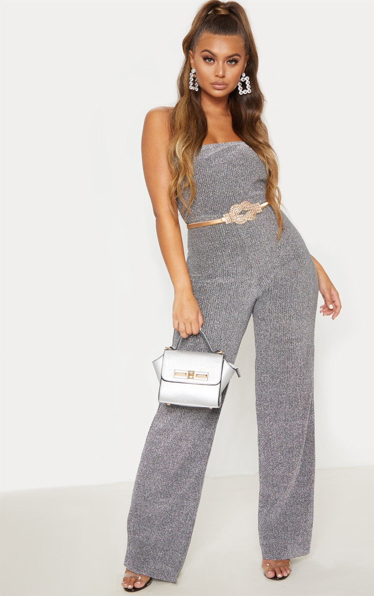 Silver Glitter Pleated Bandeau Jumpsuit 4