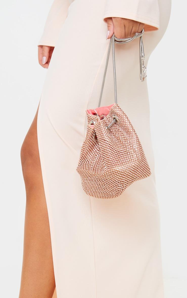 Rose Gold Diamante Pouch Bag 1