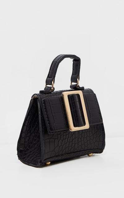 Black PU Handle Cross Body Bag