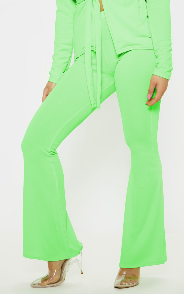 Petite Neon Lime Flare Pants  2