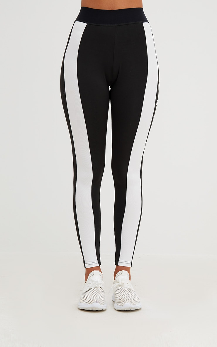 PRETTYLITTLETHING Black Monochrome Gym Leggings 2