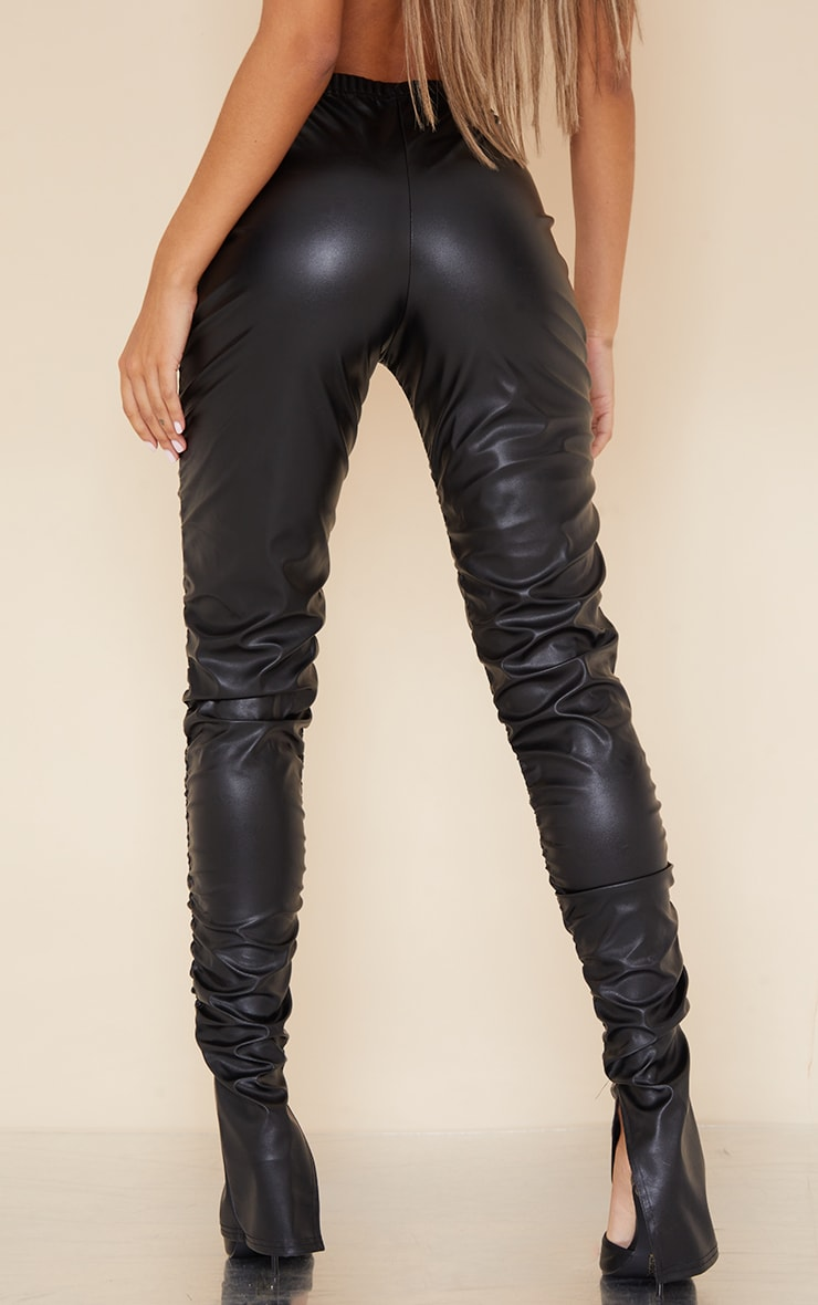 Black Faux Leather Ruched Leg Split Hem Leggings 3