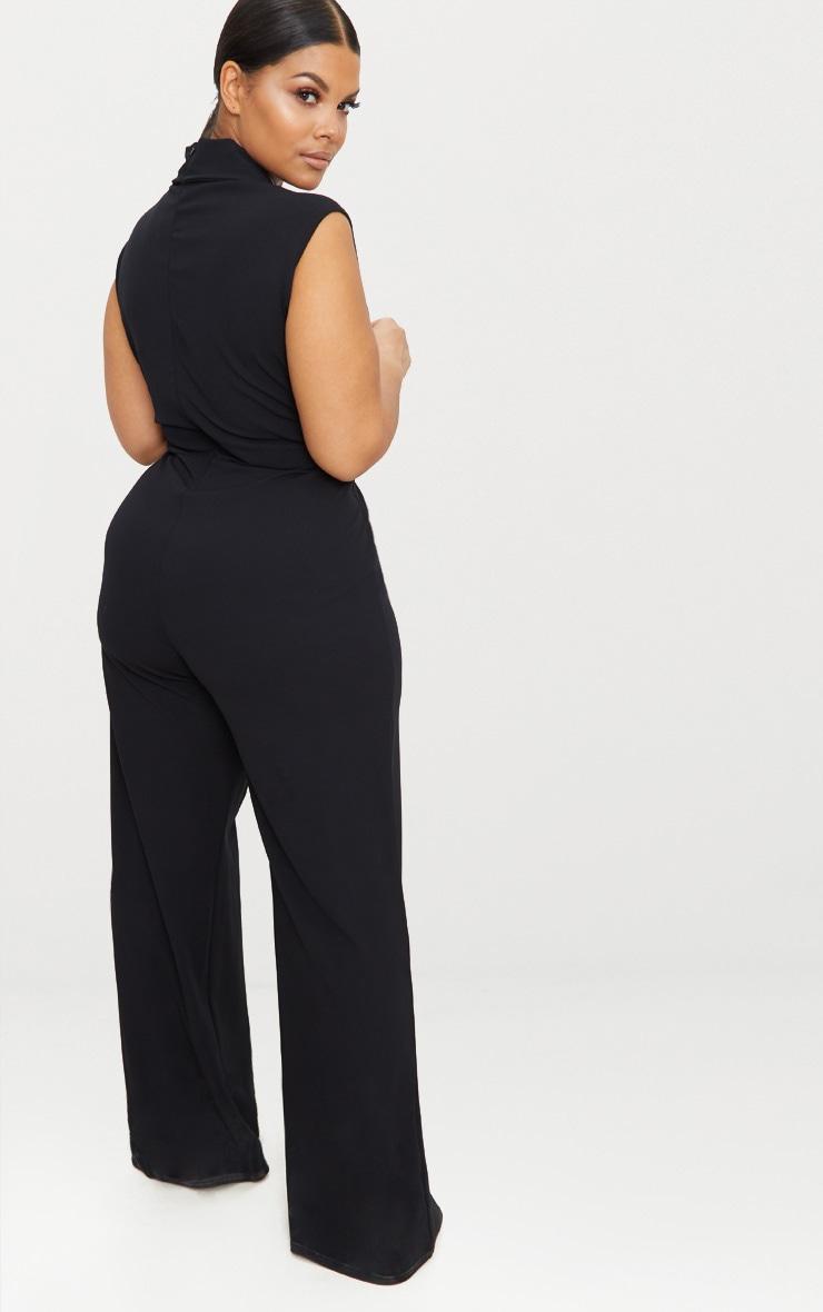 Plus Black Plunge Blazer Style Jumpsuit 2