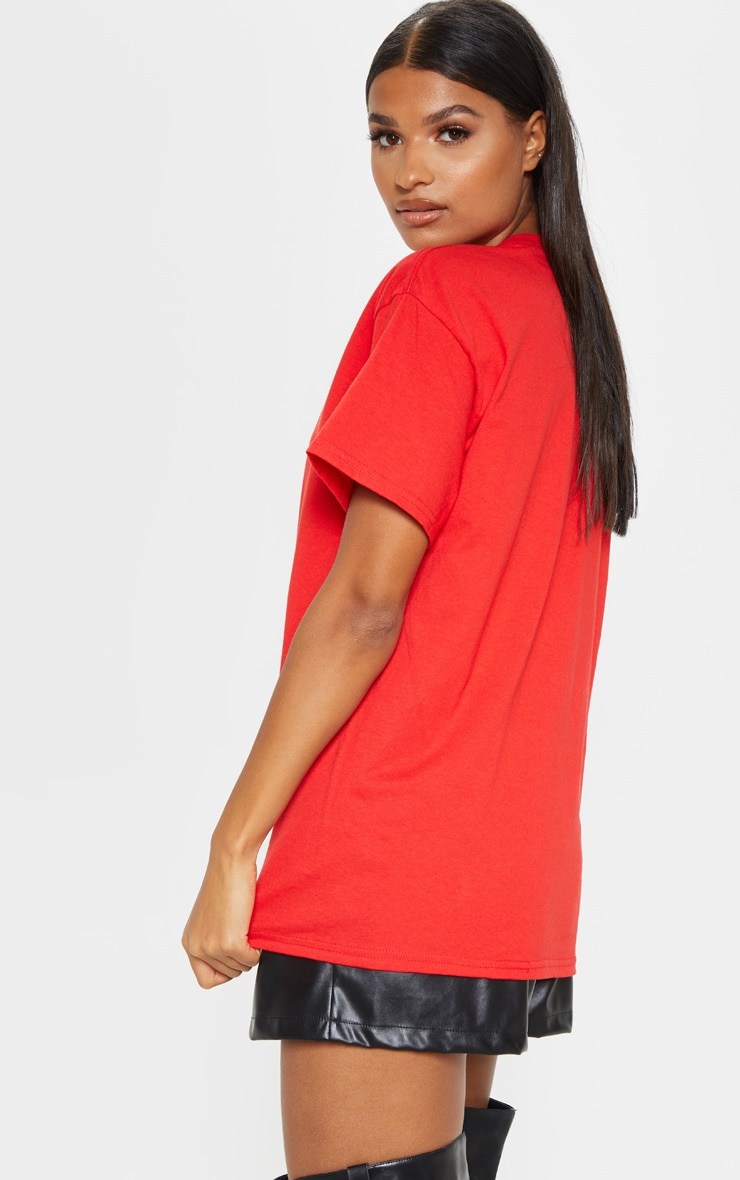 PRETTYLITTLETHING Red Slogan Oversized T Shirt 2