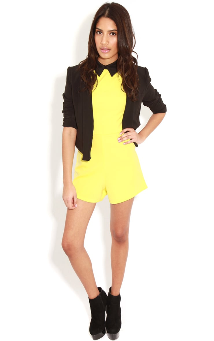 Edie Lime Playsuit With Black Collar Detail 5