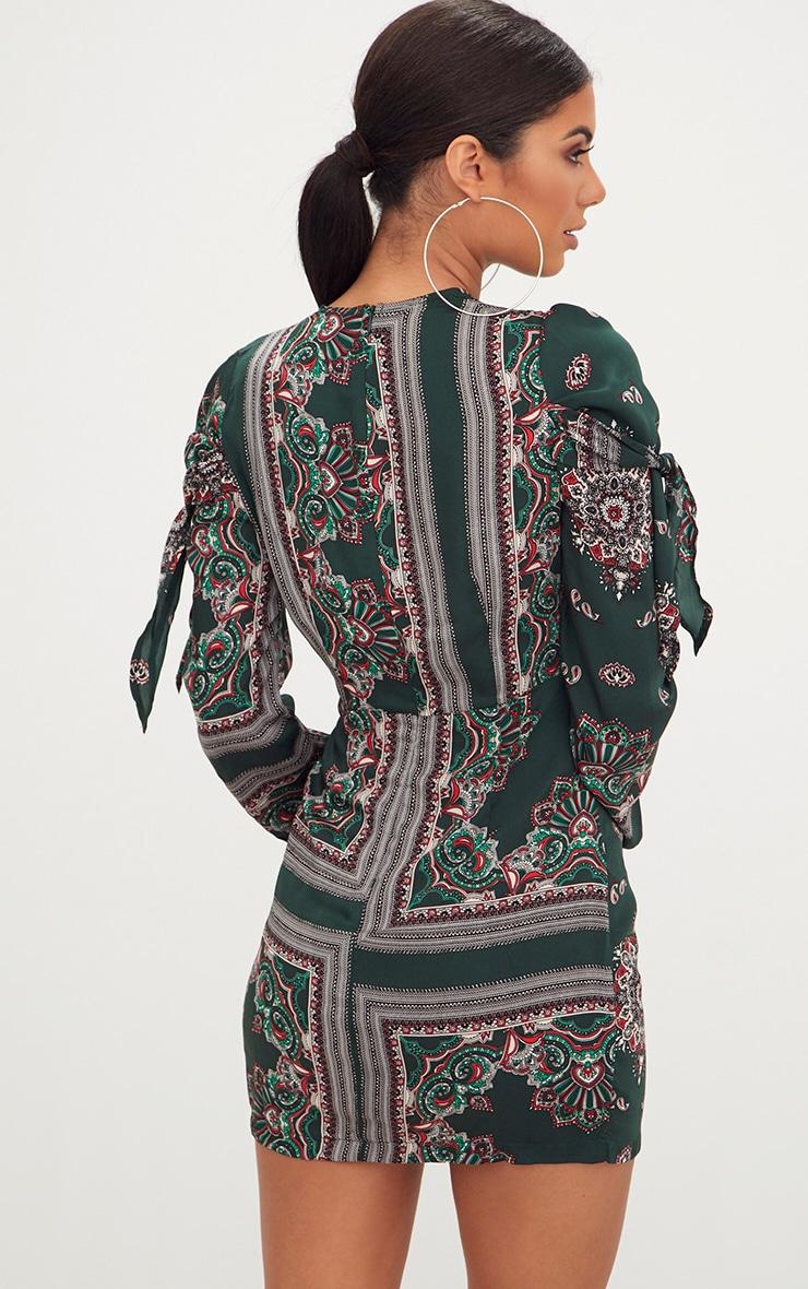 Green Scarf Print Long Sleeve Tie Detail Bodycon Dress 2