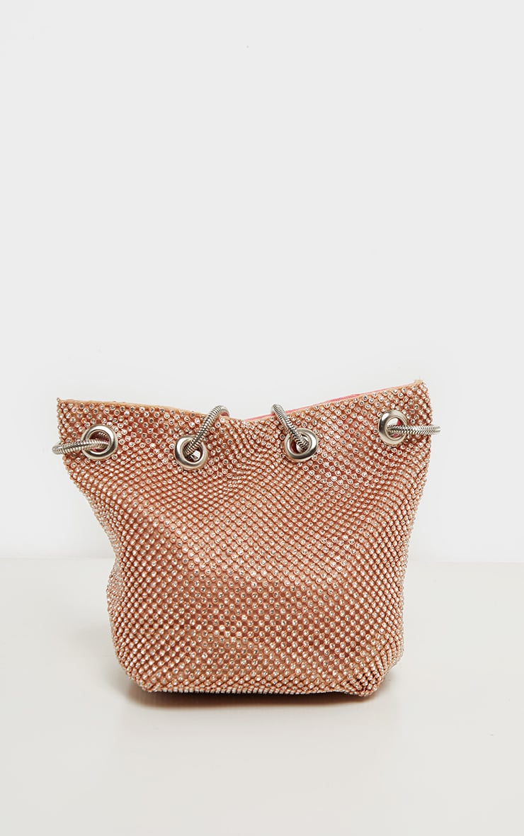 Rose Gold Diamante Pouch Bag 4