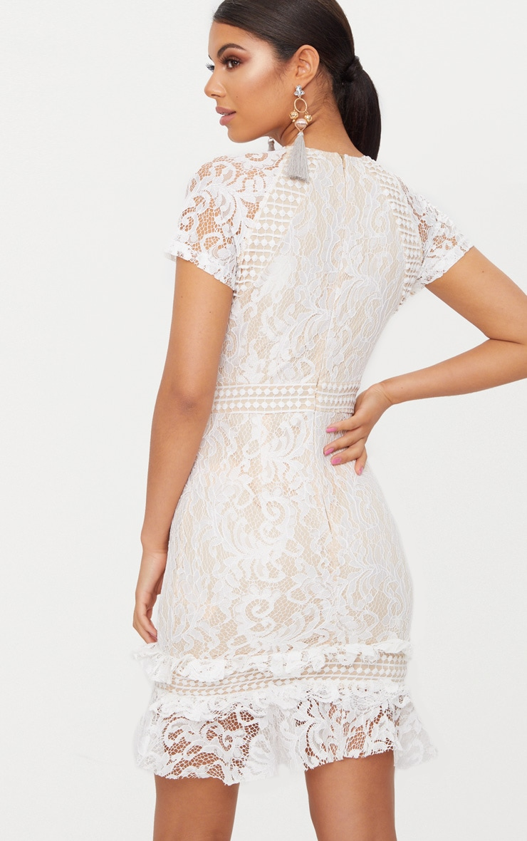 White Frill Hem Lace Bodycon Dress 2