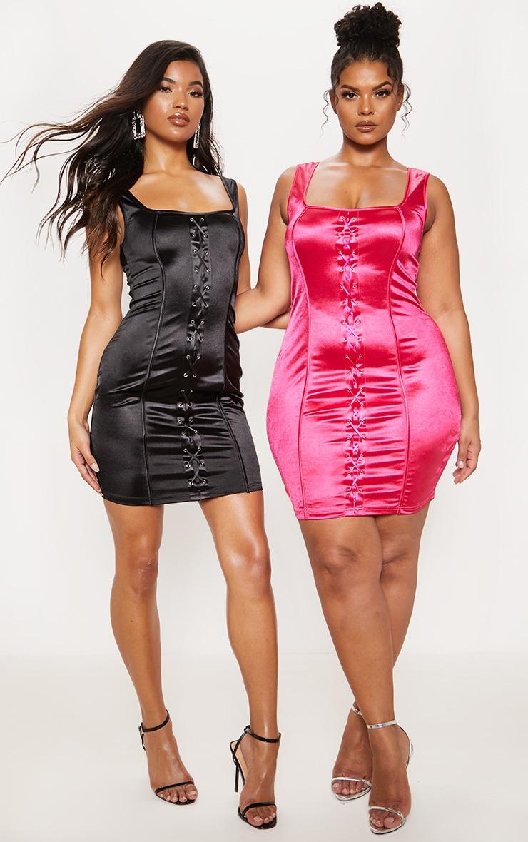 Black Lace Up Square Neck Bodycon Dress 7