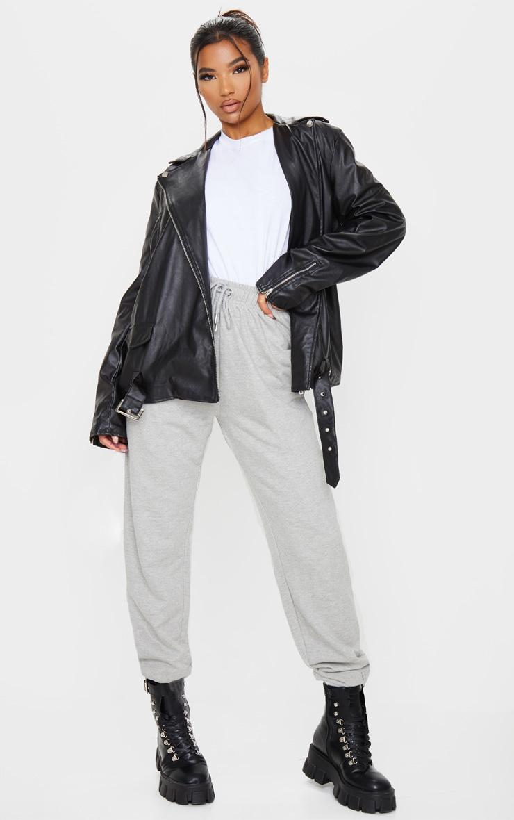 Black Faux Leather Oversized Biker Jacket 4