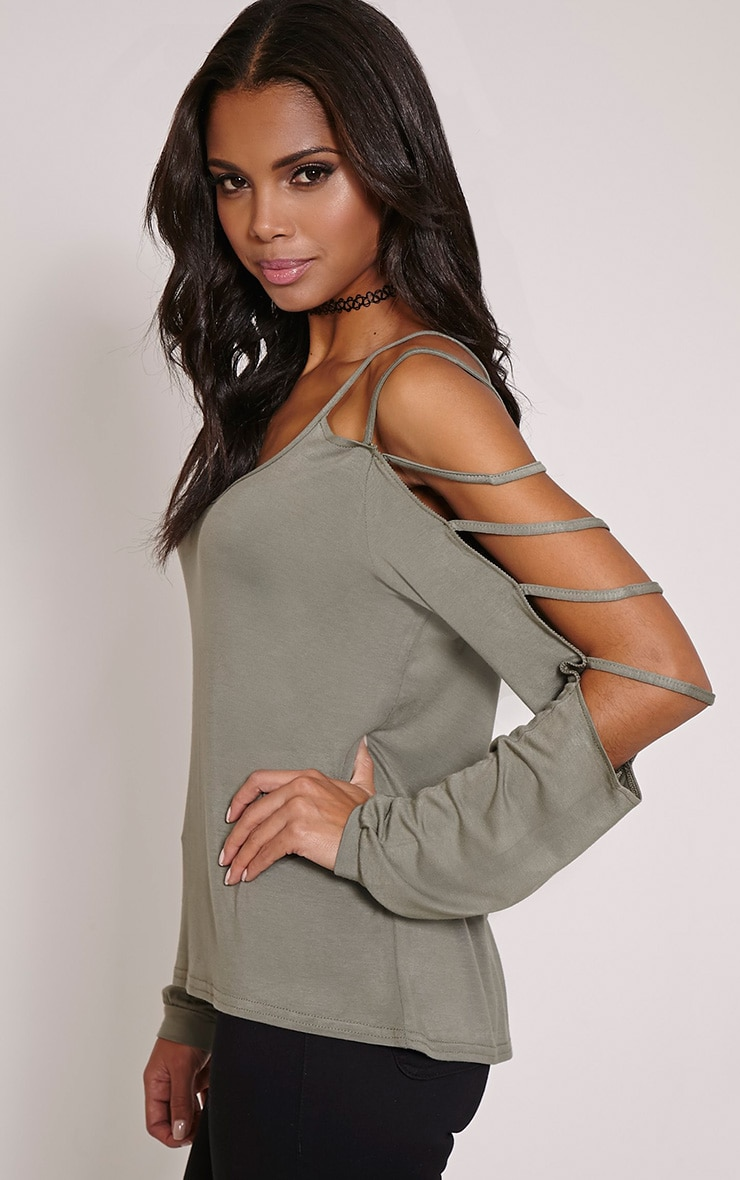 Leesa Khaki Strappy Sleeve Fit Top 1