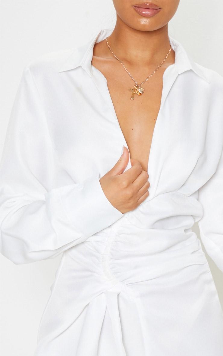 White Ruched Waist Detail Shirt Dress 5