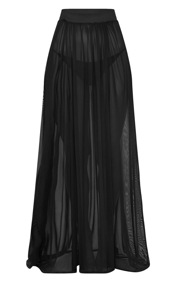 Minah Black Mesh Maxi Skirt 2
