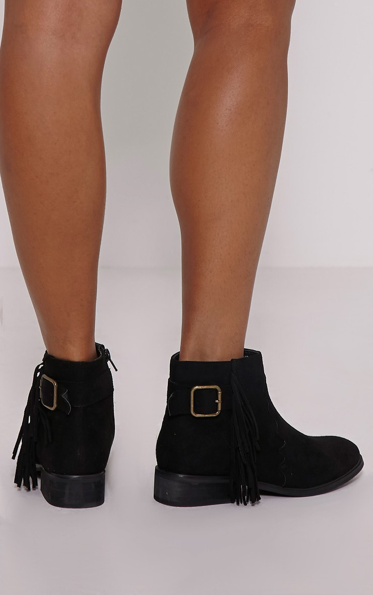 Lane Black Tassel Faux Suede Buckle Ankle Boots 2