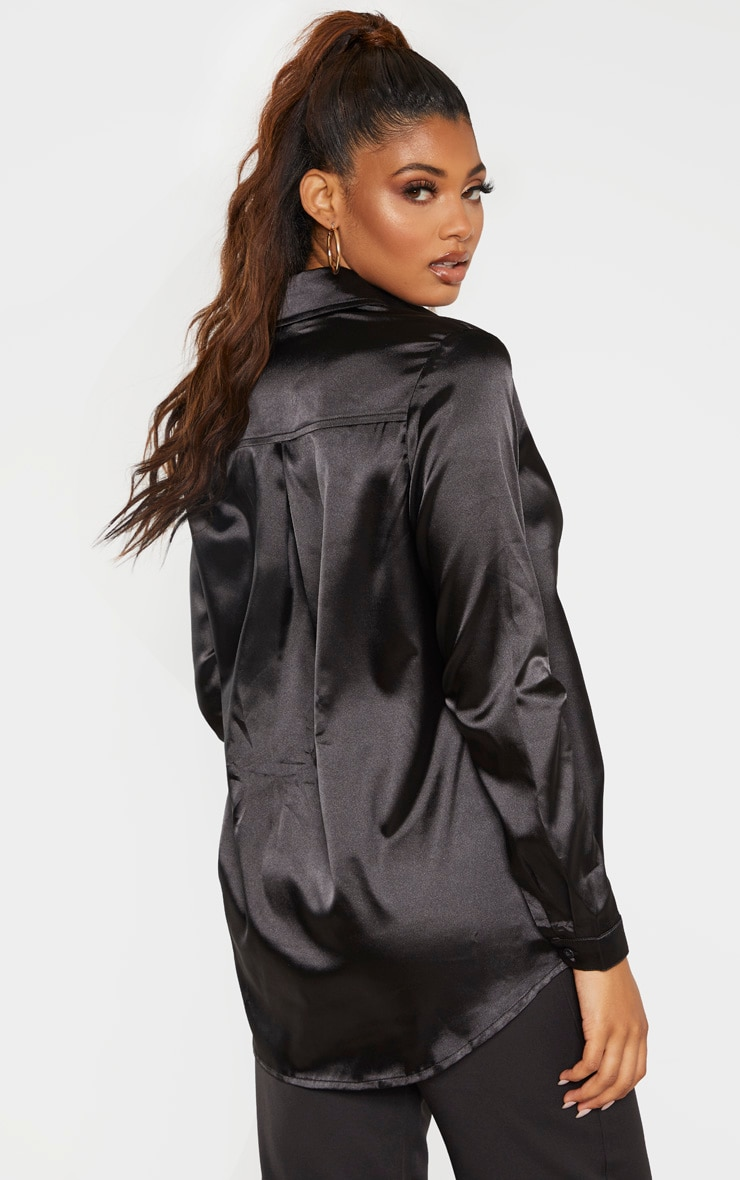 Tall Black Satin Oversized Shirt 2