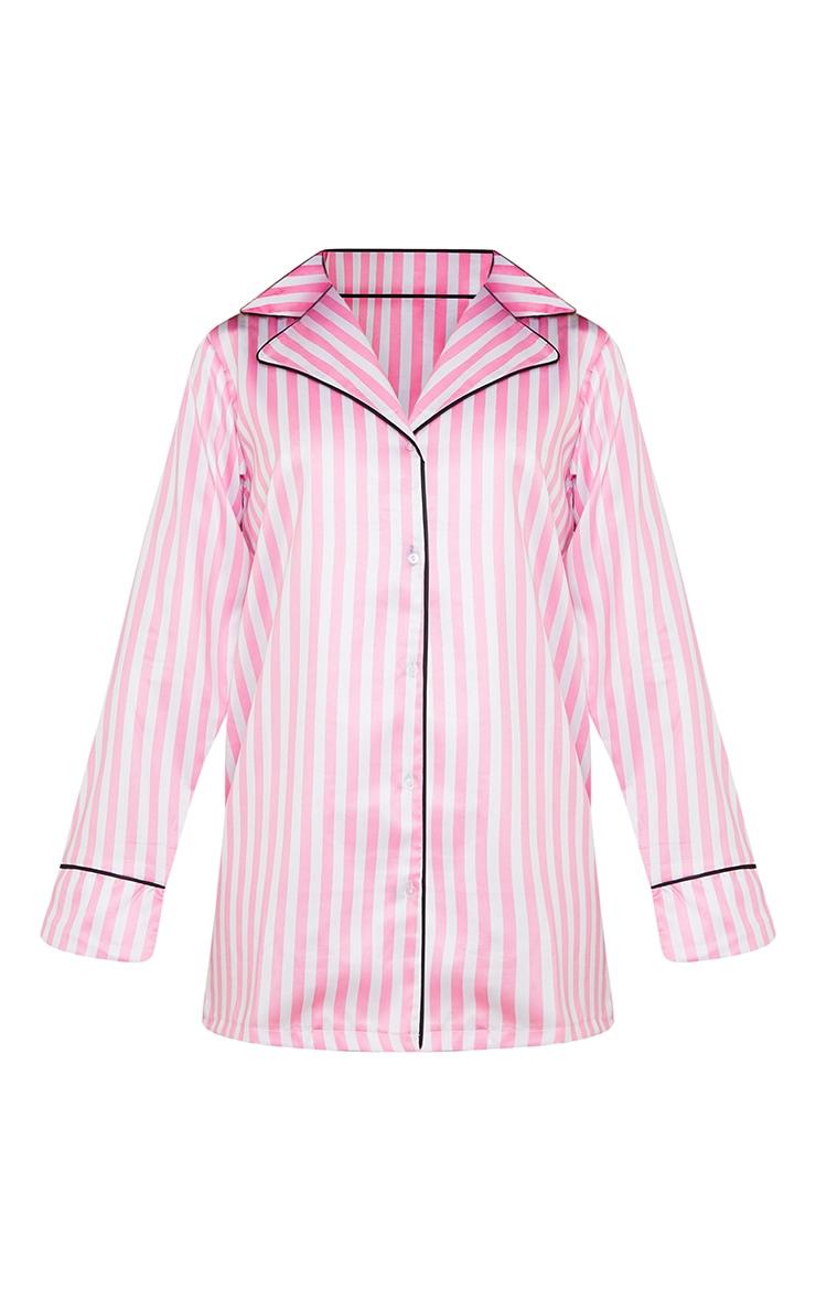 Pink Candy Stripe Satin Nightshirt 5