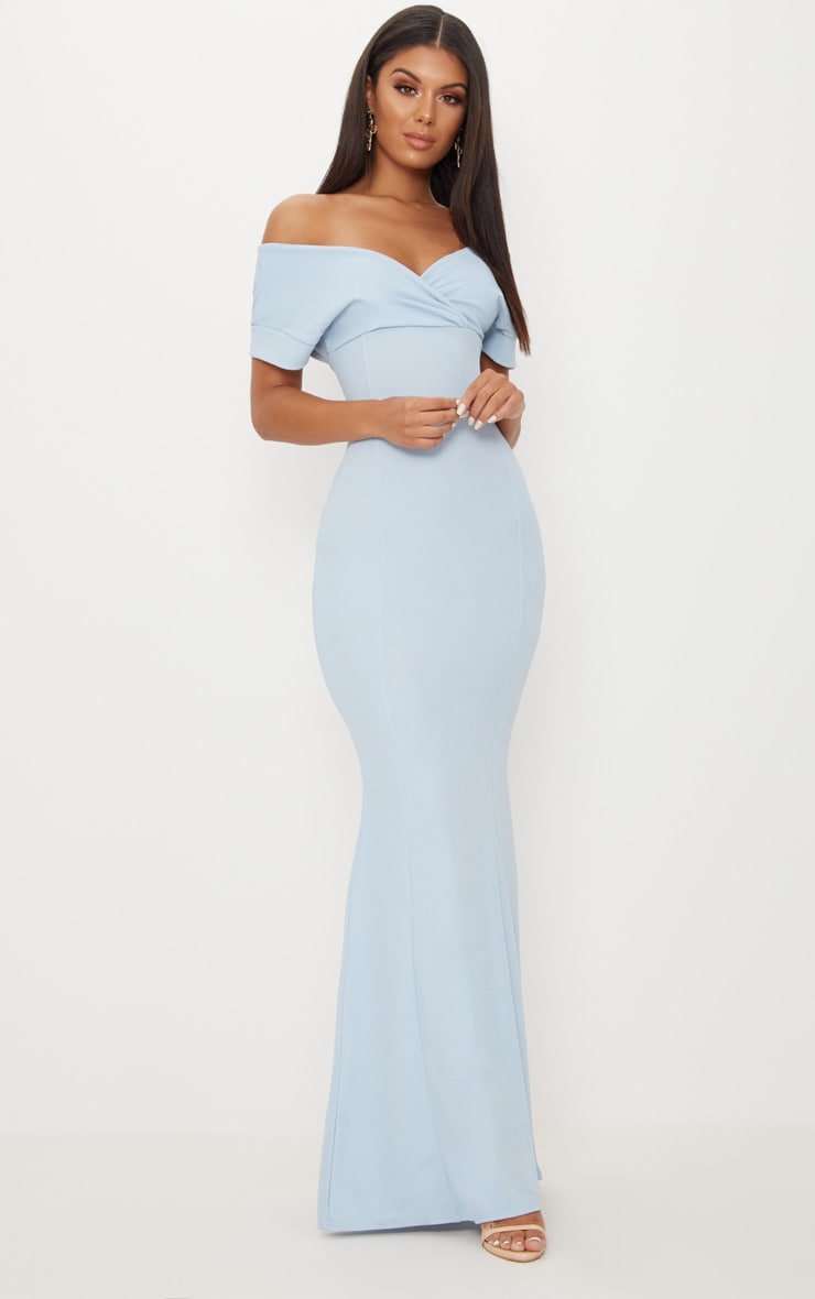 Dusty Blue Off The Shoulder Plunge Maxi Dress 1