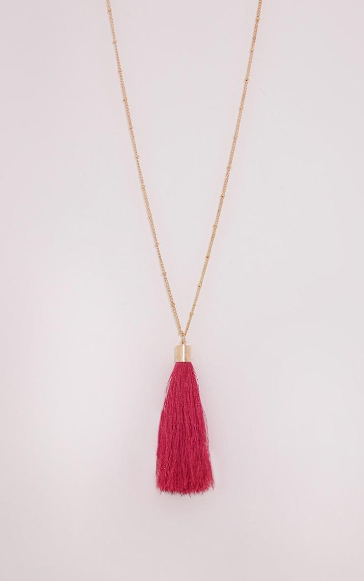 Belle Pink Long Tassel Chain Necklace 4