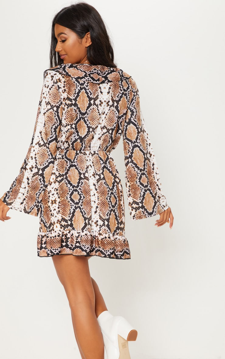 Snake Printed Jersey Frill Detail Flare Sleeve Wrap Dress 2