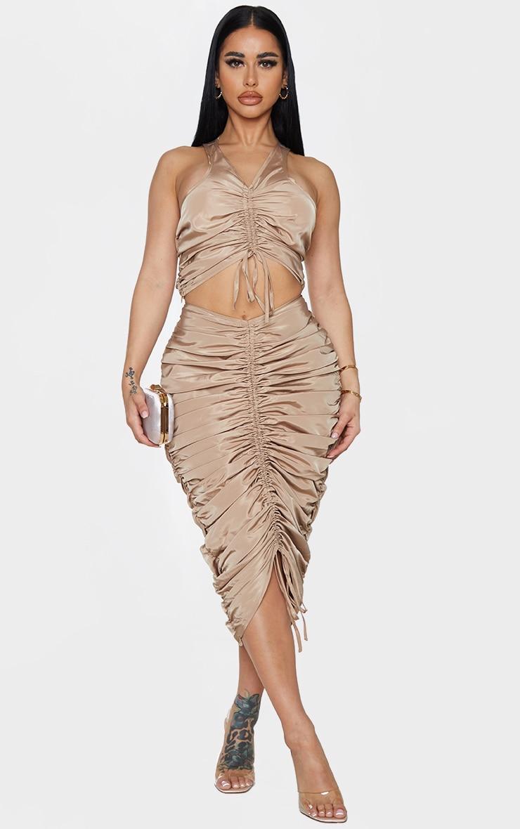 Shape Stone Nylon Extreme Ruched Midi Skirt 1